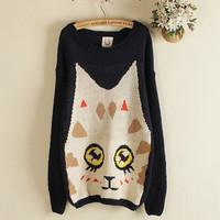 Free Shipping Autumn winter cartoon cat long loose big yards knitting a sweater Female coat