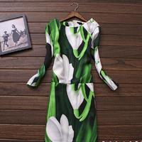 New 2014 autumn Winter dress Retro plus size XL XXL women clothing print vintage casual patterns novelty patterns dress SY1590
