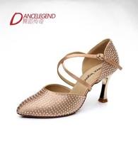 Brand Quality Dance Lengend Diamond Thin heels Dancing Satin shoes Character Ballroom/Latin shoes Adult Dance Shoes High-heeled