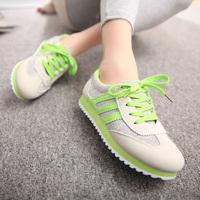2014 all-match kilen color block casual flat heel single shoes sport shoes platform female shoes