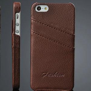 di alta qualità litchi custodia in pelle per iphone 5s con 2 titolari di carta di quarta di copertina per iphone5 5g in vera pelle telefono design unico