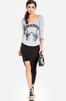 Ladies  asymmetric split bodycon Casual elastic waist skirt high quality free shipping