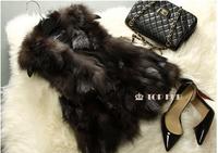 2015 New EMS Free Shipping Genuine Fox Fur Vest Women's Winter Long Fox Fur Vest Retail/Wholesale Custom Big Size TF111