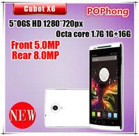 5 inch Octa Core MTK6592 Celular Dual SIM Phone GSM+WCDMA 1G/16G Android Camera 5MP+8MP Cubot X6
