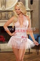 Free Shipping HOT Women's sexy exotic lingerie set lace transparent bride nightwear dress Open fille sleepwear costumes+G-string