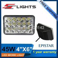 2PCS 4''x6'' 45W LED Headlamp Replacement 12V 24V car truck vehicle driving lamp