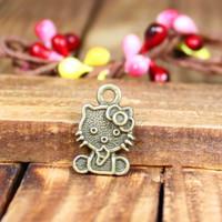 146 lovely cat design  diy necklace bracelet component  40 pcs/lot 12*18MM pendants alloy  lucky Charms  Jewelry Findings