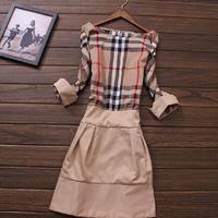 New 2014 Fashion Winter dress plus size XL XXL women clothing print Slim stylish retro plaid dress casual vintage dress SY1592