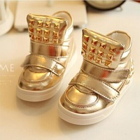2015 autumn fashion new casual baby shoes rivet Golden Girls and Boys Kids Children's winter boots sports shoes sneakers 648