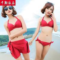 Bathing suits batch 2014 skirt bikini three-piece female swimsuit show thin strip together New 1355