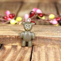 147 lovely bear design  diy necklace bracelet component  40 pcs/lot 25*13MM pendants alloy  lucky Charms  Jewelry Findings