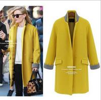 2014 fashion European style women woolen coat, slim long wool blended overcoat, winter outwear for women, free shipping,L0863