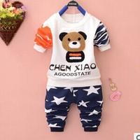 2014 new autumn baby girls baby boys cotton full sleeve fashion clothing set