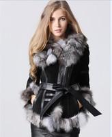 eastern fur 2014 Winter Lady pig  Leather Coat Jackets with big Fox Fur collar Outerwear Coats Warm Overcoats Female Fur jacket