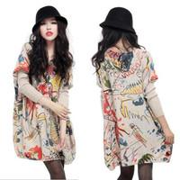 Graffiti autumn winter knitting sweater lady's loose long render unlined upper garment Free Shipping Fat MM