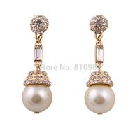 Golden New Coming Fashion Women Imitations Pearl Big Stud Earring