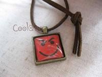 Free shipping Rock band Bon jovi logo smile face (type No.3) zinc alloy Glass pendant fashion retro necklace for girls boys