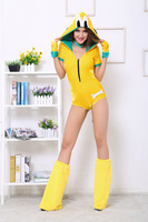 3Pc 2014 Yellow Short Sleeves Romper Attached Hood and Tail Zipper Front Cuddle Puppy Jumpsuit Sexy Halloween Costumes 5876