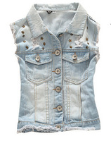 2014 spring and summer women's European beading style rivets wild skull washed denim vest