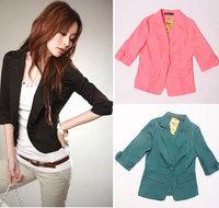 Pretty White Black Colors Fashion Slim OL Lady Womens Suit Coat Blazer Jacket Free Shippng