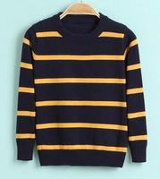 2014 NEW Model Children Winter Sweaters Size 90-120 cm Round Neck Fashion Stripe Design Boys Warm Pullovers Casual Wear
