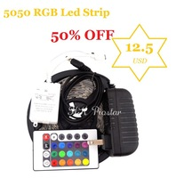 Hot 50% OFF 5050 RGB Led Strip 150Led +Power Supply DC12V+24 Key Remote Controller Led Tape Light 5m/Reel Free Shipping