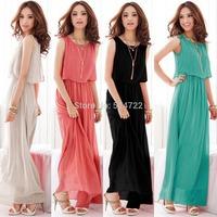 1pcs 2014 Summer Women Lady Boho Maxi Dress Chiffon Sleeveless Pleated Long Sundress