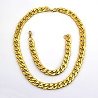 HOT 18K Gold Chain Necklace+Bracelet Jewelry Set Gift For Men Gold Chain Jewelry Set Free Shipping DJS127