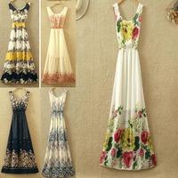 2014New Arrival Summer Women Dress Sexy Chiffon Vintage Fashion Print Ladies Long Dresses KB107