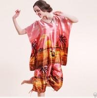 2PCS Big Women Girls Pajama Sets Tops Bottoms Summer Spring Print Imilated Silk Satin Plus Size Casual Clothing YTT2