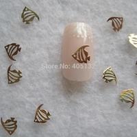 MS-290-2 Free Shipping Metal Gold Fish Nail Art Metal Sticker Nail Art Decoration Fancy Outlooking