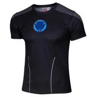 2014 New Arrival Iron Man T-shirt  Superhero Men's Short Sleeves T-shirt  Breathable Sport T-shirt Casual Cycling jersey