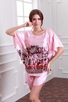 2PCS Big Women Girls Pajama Sets Tops Bottoms Summer Spring Print Imilated Silk Satin Plus Size Clothing YTT12 Comfortable