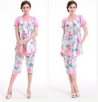 2PCS Big Women Girls Pajama Sets Tops Bottoms Summer Spring Print Imilated Silk Satin Plus Size Clothing YTT11 Comfortable