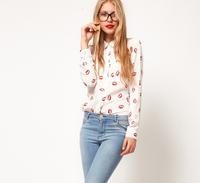 The new lip long sleeve shirt joker render unlined upper garment vestidos