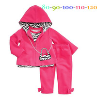 2014 Fashion Autumn 3 pcs set Children's Pajamas Casual Girls Clothing Long Sleeve Ruffle Warm kids clothes sets