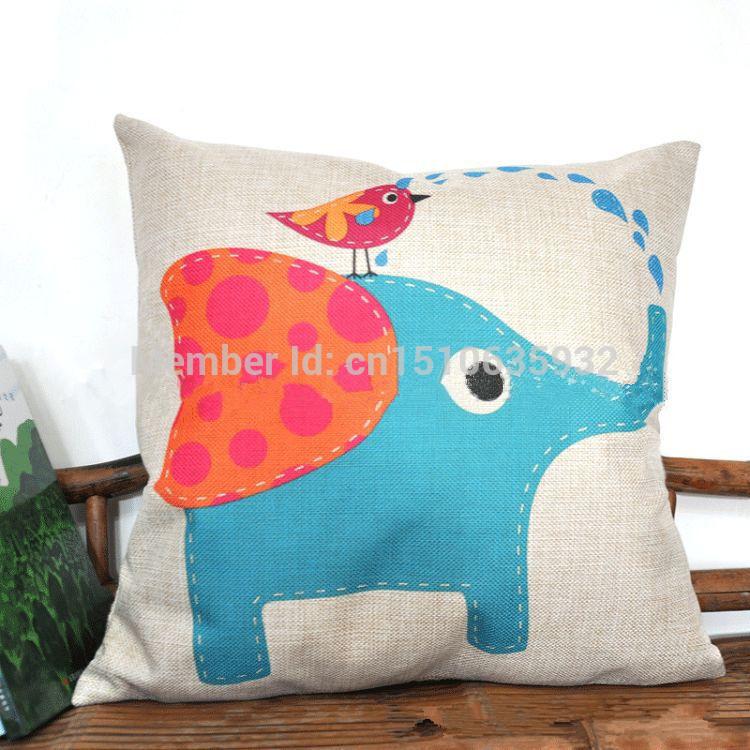 Elefante dos desenhos animados azul zakka fluido travesseiro dom almofada kaozhen(China (Mainland))