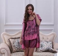 3PCS Big Women Girls Robes Tops Bottoms Sets Summer Spring Print Imilated Silk Satin High Quality Plus Size Clothing YTT10
