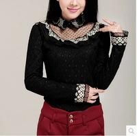 2014  women's  Han edition  new hair thickening doll led long sleeve lace render unlined upper garment warm coat