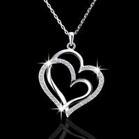 New Design 18k silver plated Romantic wedding rhinestone  heart Pendant necklace fashion Elegant jewelry for women 2014 M13
