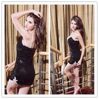 2015 high quality free shipping drop shipping women sexy lingerie set hot sexy black lace mini dress free shipping