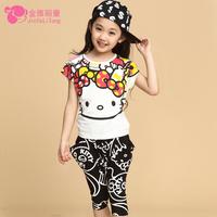 Female child casual sports set 2014 summer child baby cartoon short-sleeve T-shirt capris twinset