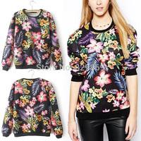 2014 Newest Autumn Women's Bloom Floral Leaf Print Crew neck Long sleeve Pullover Jumper Hoodies Sweater Sweatshirts Tops Black