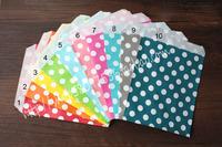 PP0231 (100pcs/lot) Colorful Polka Dots Favor Bags, Bitty bag, Party Food Paper Bag 10Colors 13*18cm