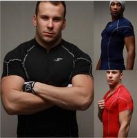 The new stand collar zipper men's short sleeved speed drying fitness training T-shirt JA501