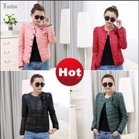 Lanluu Hot Selling 2014 Fashion Winter Autum Women Slim Short Cotton Down Coat Parkas Jacket SQ742