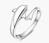 J250 925 Sterling Silver Lover Romantic Dolphin Open Ring For Women Fashion Elegant Jewelry