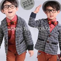 2014 autumn children's clothing male child baby 100% cotton casual plaid suit blazer outerwear