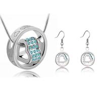 gold plated double Heart shaped fashion jewelry set, Tz-4113