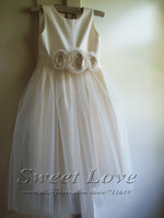 White Satin Flower Girl Dress